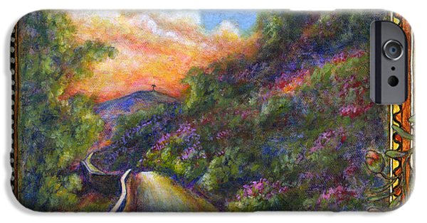 Virtual Paintings iPhone Cases - Uphill iPhone Case by Retta Stephenson