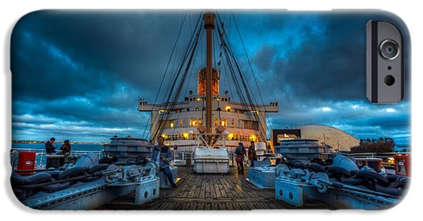 Upper Deck iPhone Cases - Upper Deck of Queen Mary iPhone Case by Jerome Obille
