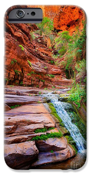 Grand Canyon iPhone Cases - Upper Elves Chasm Cascade iPhone Case by Inge Johnsson