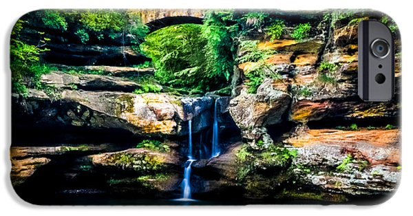 Devil Ray iPhone Cases - Upper falls at Old Mans Cave iPhone Case by Optical Playground By MP Ray