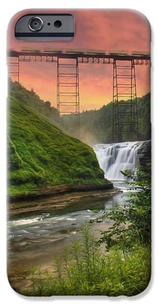Grand Canyon Digital Art iPhone Cases - Upper Falls of Letchworth iPhone Case by Lori Deiter