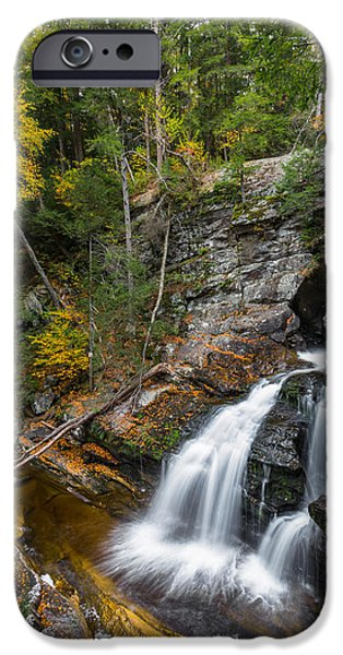 Kent Connecticut iPhone Cases - Upper Kent Falls Autumn iPhone Case by Bill  Wakeley