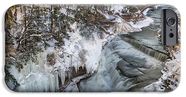 Taughannock Falls iPhone Cases - Upper Taughannock Winter iPhone Case by Mark Papke