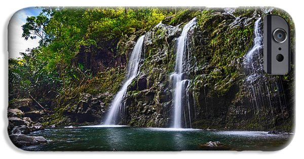 Fall iPhone Cases - Upper Waikani Falls - the stunningly beautiful Three Bears found in Maui. iPhone Case by Jamie Pham