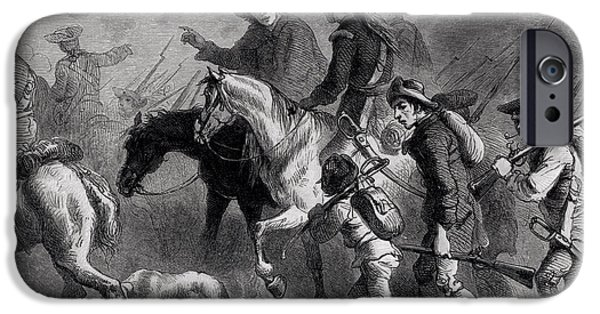 Bayonet iPhone Cases - Uprising Of The New England Yeomanry, Engraved By A. Bollett Engraving B&w Photo iPhone Case by Felix Octavius Carr Darley