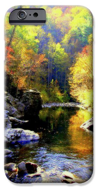 Smokey Mountains iPhone Cases - Upstream iPhone Case by Karen Wiles