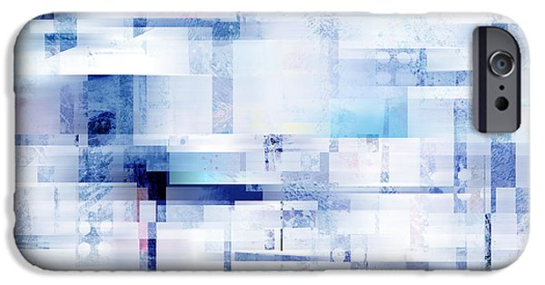 Business Digital Art iPhone Cases - Uptown Blues on Square -abstract -art iPhone Case by Ann Powell