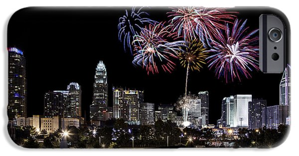 Charlotte iPhone Cases - Uptown Fireworks 2014 iPhone Case by Chris Austin