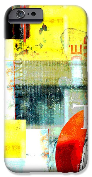 Street Mixed Media iPhone Cases - Urban Abstract in Red and Yellow iPhone Case by Anahi DeCanio