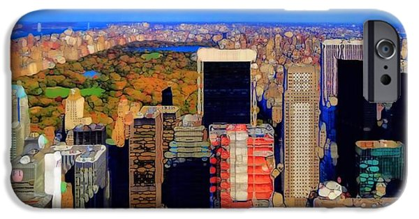 Skylines Mixed Media iPhone Cases - Urban Abstract New York City Skyline And Central Park iPhone Case by Dan Sproul
