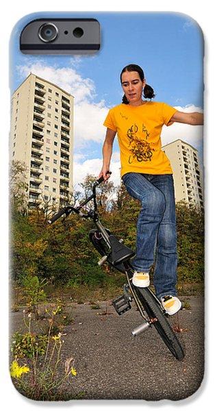 Asphalt iPhone Cases - Urban BMX Flatland with Monika Hinz iPhone Case by Matthias Hauser