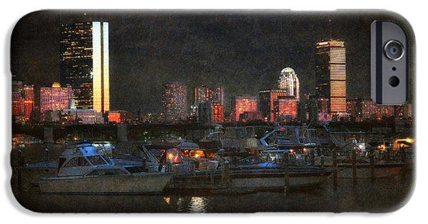 Boston Nightscape iPhone Cases - Urban Boston Skyline iPhone Case by Joann Vitali