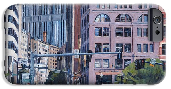 City. Boston Paintings iPhone Cases - Urban Canyon Congress Street iPhone Case by Deb Putnam