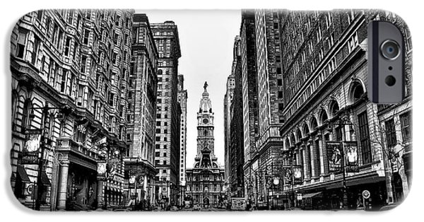 Buildings iPhone Cases - Urban Canyon - Philadelphia City Hall iPhone Case by Bill Cannon