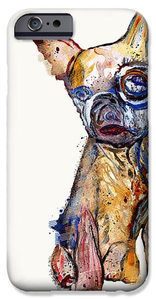 Puppy Digital Art iPhone Cases - Urban Chihuahua iPhone Case by Bri Buckley