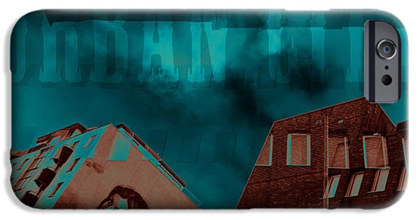 City Scape Mixed Media iPhone Cases - Urban city iPhone Case by Toppart Sweden