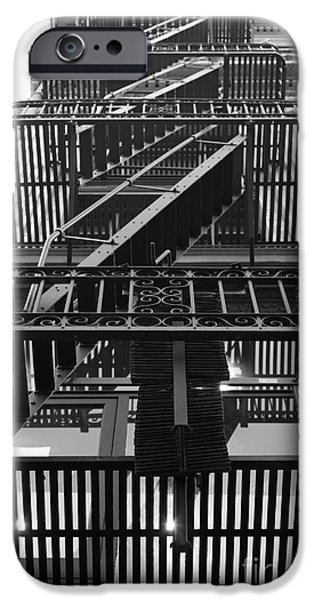 Escape iPhone Cases - Urban Fabric - Fire Escape Stairs - 5D20592 - Black and White iPhone Case by Wingsdomain Art and Photography