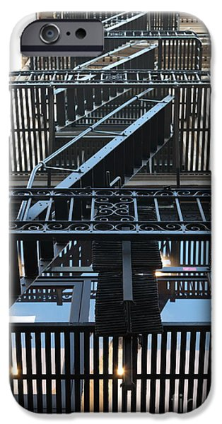 Urban Fabric - Fire Escape Stairs - 5D20592 iPhone Case by Wingsdomain Art and Photography