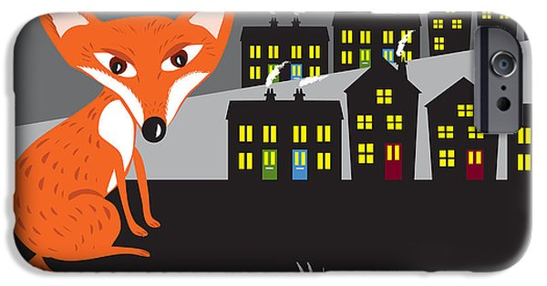 House iPhone Cases - Urban Red Fox iPhone Case by Kate Shannon