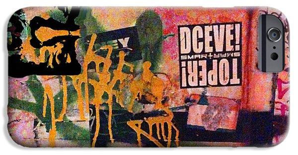 Chip Mixed Media iPhone Cases - Urban Graffiti Abstract 4 iPhone Case by Tony Rubino