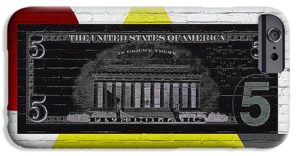 Reverse Art iPhone Cases - Urban Graffiti - US Five Dollar Bill Reverse iPhone Case by Serge Averbukh