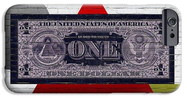 Reverse Art iPhone Cases - Urban Graffiti - US One Dollar Bill Reverse iPhone Case by Serge Averbukh