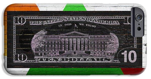 Reverse Art iPhone Cases - Urban Graffiti - US Ten Dollar Bill Reverse iPhone Case by Serge Averbukh