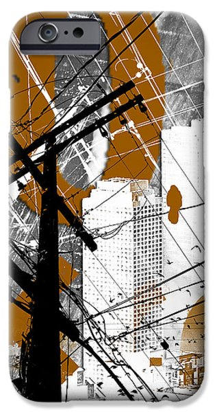 Abstract Digital Mixed Media iPhone Cases - Urban Grunge Orange iPhone Case by Melissa Smith