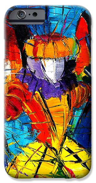 Piazza San Marco iPhone Cases - Urban Story The Venice Carnival 2 Painting Detail iPhone Case by Mona Edulesco