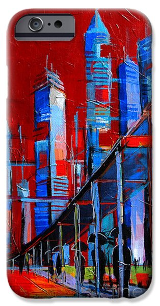 Imaginary Art iPhone Cases - URBAN VISION - city of the future iPhone Case by Mona Edulesco