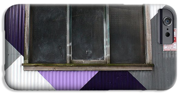 Purple Art iPhone Cases - Urban Window- photography iPhone Case by Linda Woods