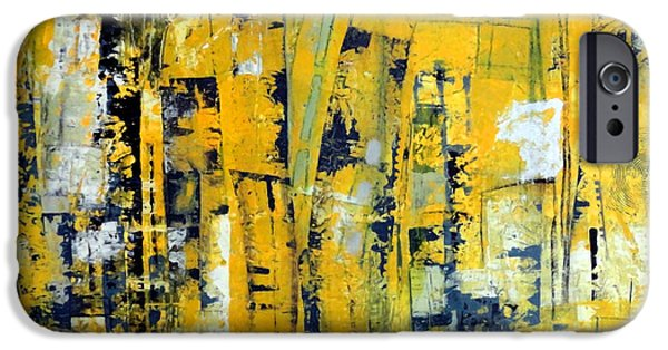 Concept Paintings iPhone Cases - Urban Yellow iPhone Case by Katie Black