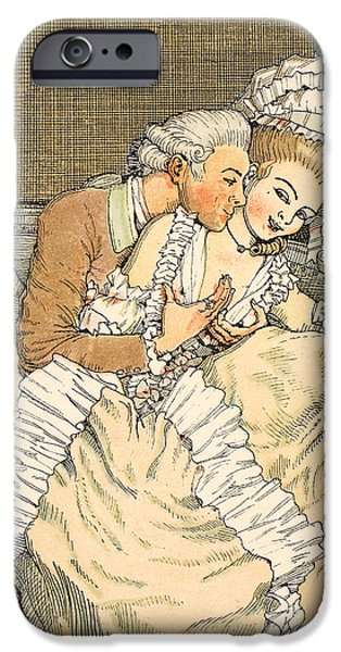 Couple Drawings iPhone Cases - Urgent love iPhone Case by Konstantin Andreevic Somov