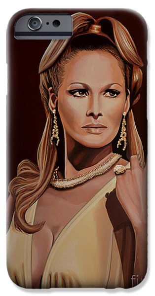 Model Paintings iPhone Cases - Ursula Andress iPhone Case by Paul Meijering