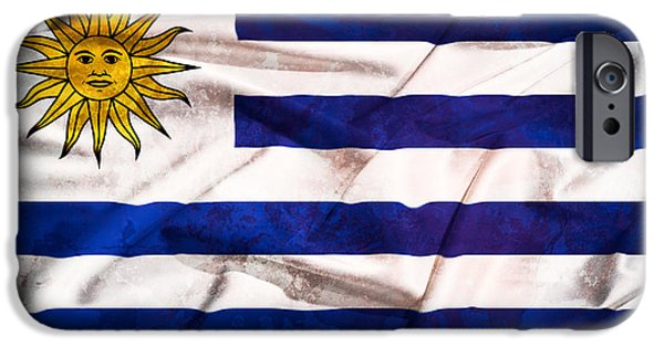 Freedom Tapestries - Textiles iPhone Cases - Uruguay  grunge flag on a silk drape waving iPhone Case by Stefano Carniccio