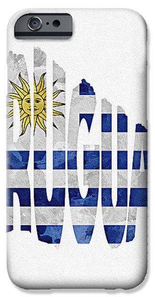 Dirty iPhone Cases - Uruguay Typographic Map Flag iPhone Case by Ayse Deniz