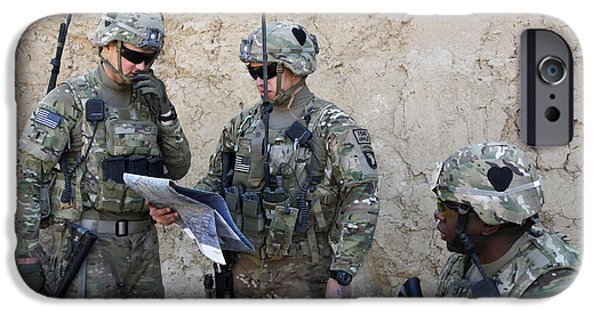 East Village iPhone Cases - U.s. Army Soldiers Discuss The Plan iPhone Case by Stocktrek Images
