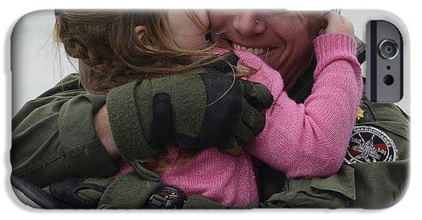 Recently Sold -  - Bonding iPhone Cases - U.s. Aviator Hugs His Daughter iPhone Case by Stocktrek Images
