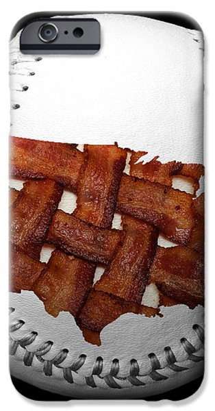 US Bacon Weave Map Baseball Square iPhone Case by Andee Design