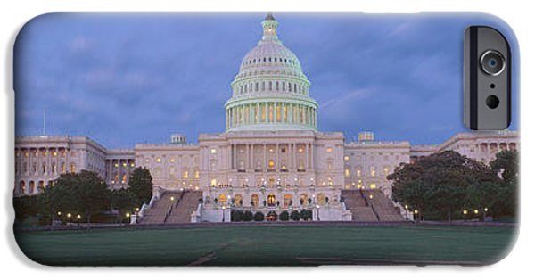 D.c. iPhone Cases - Us Capitol Building At Dusk, Washington iPhone Case by Panoramic Images