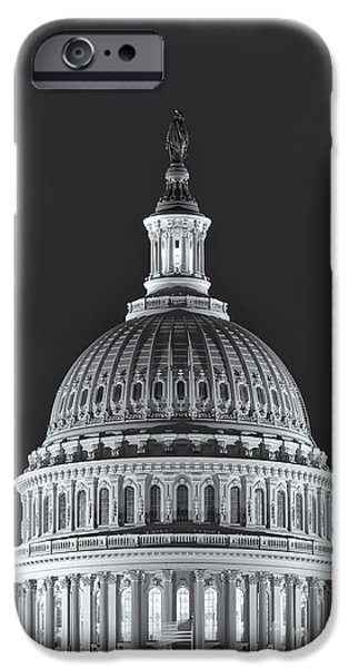 D.c. iPhone Cases - US Capitol Dome at Night II iPhone Case by Clarence Holmes