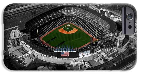 Central Il iPhone Cases - US Cellular Field Chicago Sports 08 Selective Coloring Digital Art iPhone Case by Thomas Woolworth
