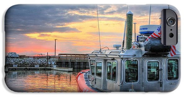 Joints iPhone Cases - US Coast Guard Defender Class Boat iPhone Case by JC Findley