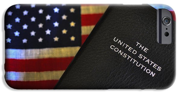 Constitution iPhone Cases - U.S. Constitution and Flag iPhone Case by Ron White