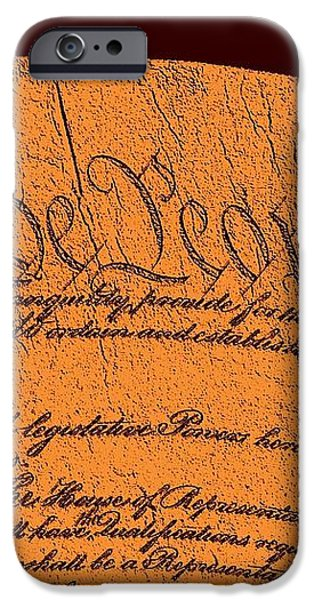 US Constitution Closeup Sculpture Brown Background iPhone Case by L Brown