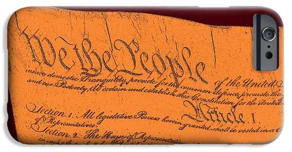 4th July Mixed Media iPhone Cases - US Constitution Sculpture Closest Closeup Red Brown Background iPhone Case by L Brown