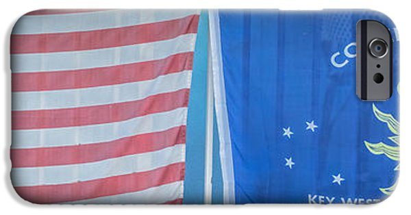 Ianmonk iPhone Cases - US Flag and Conch Republic Flag Key West  - Panoramic - HDR Style iPhone Case by Ian Monk
