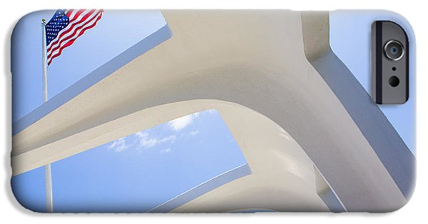 Tomb iPhone Cases - U.S.  Flag at the USS Arizona Memorial iPhone Case by Diane Diederich