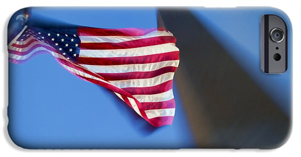 Patriotism iPhone Cases - US Flag at Washington Monument at Dusk iPhone Case by David Smith