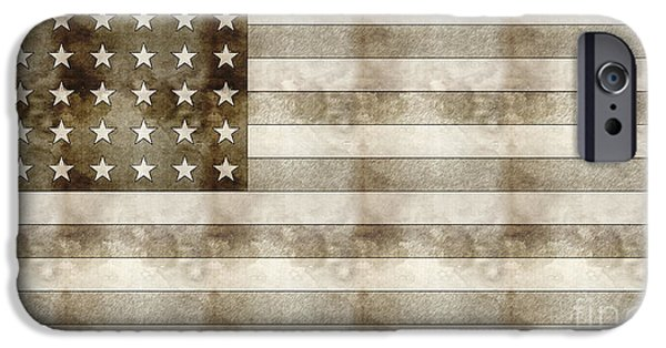 Business Drawings iPhone Cases - Us Flag Sketch iPhone Case by Adam Asar
